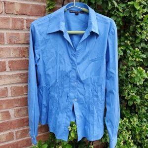 Lafayette 148 NY blue button down shirt 8
